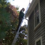 Tim Carroll tackles very dirty Parsonage gutters.