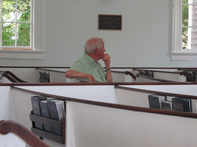 Bob Conway watched the whole installation when he wasn't buying wire or paint in Vineyard Haven.