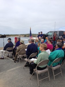 Blessing the Fleet : Coast Guard presents the flag.